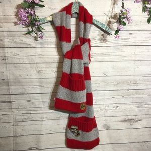 VS PINK | red gray striped scarf